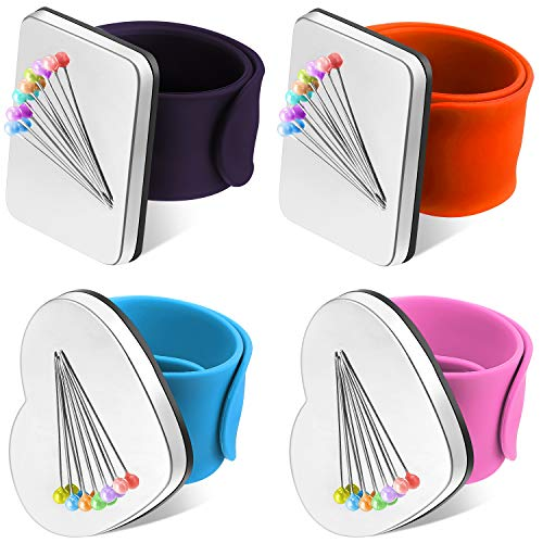 4 Pieces Magnetic Pin Wristband Wrist Magnetic Sewing Pincushion Wrist Pin Cushion Watch Pin Cushion for Daily Hand Sewing Work DIY Crafts Supplies (Orange, Dark Purple, Pink, Blue)