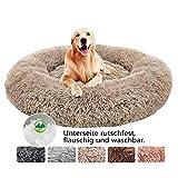Haoye Cama para Mascotas Grande, Felpa Deluxe Plush Redonda de Pelo Nido de Donut para Mascotas Deluxe para Gatos y Perros - Beige Ø 110cm