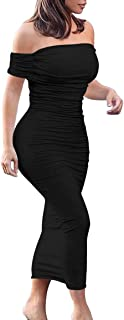 GOBLES Women's Ruched Off Shoulder Short Sleeve Bodycon Midi Elegant Cocktail Party Dress