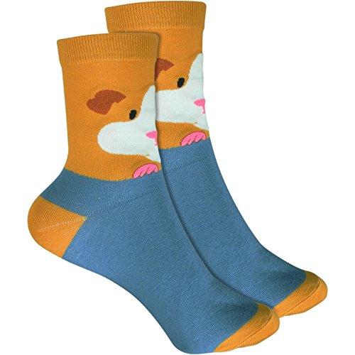 cosey - bunte Socken im Meerschweinchen Design in blau (33 – 40) - 2 Paar