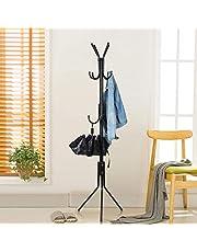 Lukzer 6 Hook Coat Hanger/Clothes Hanger Stand/ 6 Hook Hanging Pole Rack Clothes Hanger Coat Stand Storage (Black / 170 x 42cm)