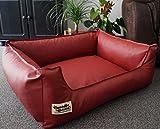 Hundebett Hundesofa Schlafplatz Kunstleder Similpelle Farbe und Größe wählbar von XS bis XXL (90 cm X 70 cm, Ziegelrot)