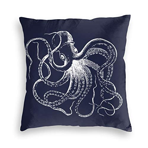 Feamo Navy Blue Vintage Octopus And Nautical Stripes Velvet Soft Decorative Square Throw Pillow Covers Cushion Case Pillowcases for Sofa Chair Bedroom Car 18X18inch