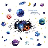 SuperDuo 3D Cosmic Planet Decal Self Adhesive Waterproof Outer Space Universe Galaxy Removable Wall Stickers Creative Decoration Poster Wallpaper Bedroom Dorm Stickers …