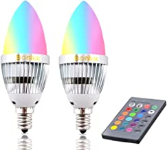Bonlux 2-Pack 3W RGB E12 Candelabra LED Bulb, 16 Colors 4 Modes Choice, Remote Control Color Changing Candle Light Bulb for Home Decoration/Bar/Party/KTV Mood Ambiance Lighting