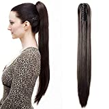 Ponytail Extension Pferdeschwanz Haarteil Haarverlängerung Zopf Hair Piece Haar Glatt Hitzebeständig wie Echthaar Dunkelbraun Glatt-21'(53cm)-140g