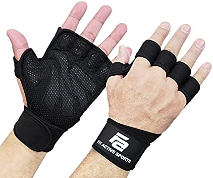 Guantes de levantamiento de pesas ventilados con muñequeras integradas, protección completa de la palma y agarre extra. Ideal para dominadas, entrenamiento cruzado, fitness, WODs y levantamiento de pesas.