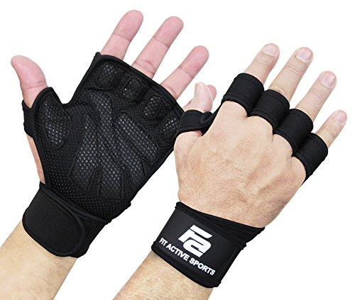 New Ventilated Weight Lifting Gloves with Built-In Wrist Wraps, Full Palm Protection & Extra Grip. Great for Pull Ups, Cross Training, Fitness, WODs &...