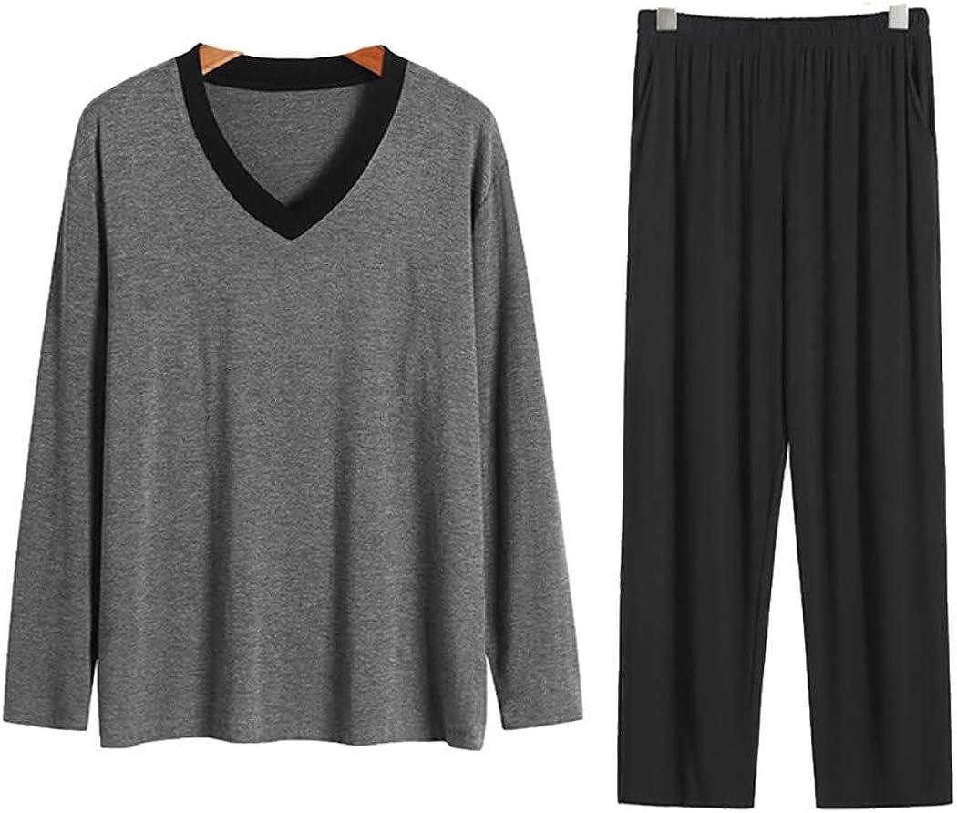 Lerbe Men's Long Sleeve Sleep Top and Bottom Pajama Set Sleepwear