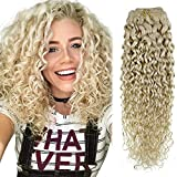 Hetto Natural Wavy Clip in Hair Extensions Human Hair #60 White Blonde Hair Extensions Clip in Human Hair Extensions 16 Inch Natural Curly Clip in Extensions 7pcs 100g