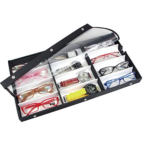 """Ikee Design Small/Medium 12 Compartment Eyewear Shades Case for Eyeglasses, Sunglasses, Watches, Jewelry with Vinyl Clear Top Lid, 19""""w x 10""""D x 1 1/2""""H"""