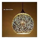 美しいランプ ロフトレストランバーダイニングルーム台所島のためのペンダントライトミラーガラス玉花火ランプシェード3Dグラスペンダントランプ (Body Color : B 20 D X 17 H)