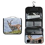 Bolsa de aseo de viaje con diseño de antílope de animales para mamíferos, bolsa de maquillaje, bolsa de almacenamiento multifunción, bolsa de lavado portátil para mujeres y niñas
