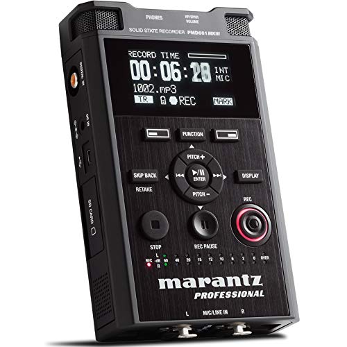 Marantz Professional PMD661MKIII   Handheld Solid State Field Recorder with On-Board File Encryption, Studio-Grade Recording Resolutions and Microphone Included