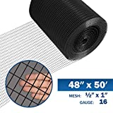 Fencer Wire 16 Gauge Black Vinyl Coated Welded Wire Mesh Size 0.5 inch by 1 inch...