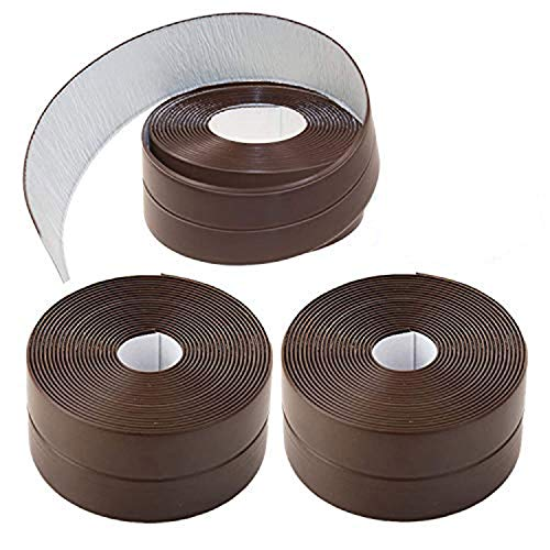 KZKR Tape Caulk Strip 3 Pack PVC Self Adhesive Kitchen Caulking Sealing Tape Protector for Bathtub Bathroom Shower Toilet Kitchen and Wall Sealing (1-1/2' x 11' Brown)