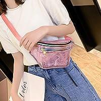 林ファッション透明なプラスチックメッシュシングルショルダーバッグカラフルなジッパーレディースメッセンジャーバッグチェストウエストバッグ(ブラック)ポケット Chenhuis (Color : Pink)