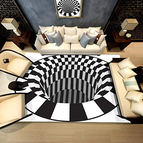 WJS Alfombra De área Redonda con Ilusión 3D Blanco Y Negro Cojín De Superficie Tridimensional Sala De Estar Felpudo Mesa De Centro Sofá Alfombra para Decoración De Dormitorio(Size:120x120cm)