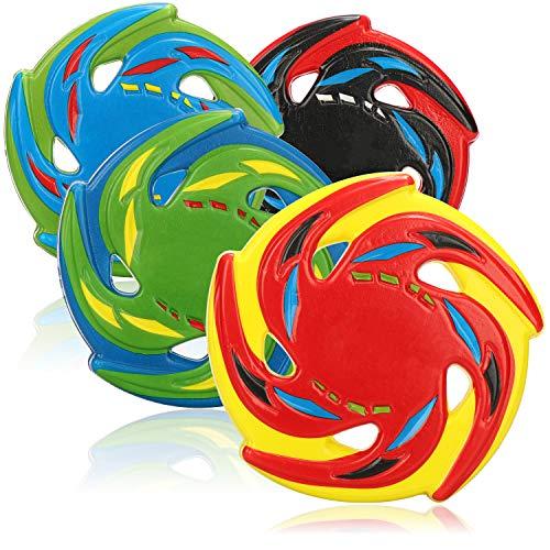 com-four® 4X Frisbee für Kinder und Erwachsene - Wurfscheibe aus Schaumgummi - Frisbeescheibe 15 cm - Flugscheibe in bunten Farben [Auswahl variiert]
