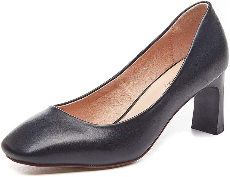 ZHIJINLI Damenschuhe quadratischen Kopf flachen Mund einzelne Schuhe Schuhe Schuhe High Heels OL Arbeitsschuhe Wilde Arbeitsschuhe, 7,5 GRÖSSE  c7cdcf