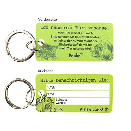 Haustier Notfallkarte aus hochwertigen PVC zum Schutz Ihrer Haustiere bei Abwesenheit - Emergency Card - grün mit Schlüsselring
