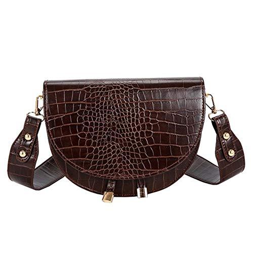 WXCL Damen Umhängetasche Halbkreis Umhängetasche PU Leder Handtasche One Shoulder Bag Mode Diagonal Umhängetasche, Kaffee, USA