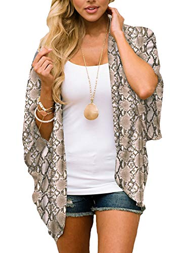 Women's Floral Print Puff Sleeve Kimono Cardigan Loose Cover Up Casual Blouse Tops(Snake L)