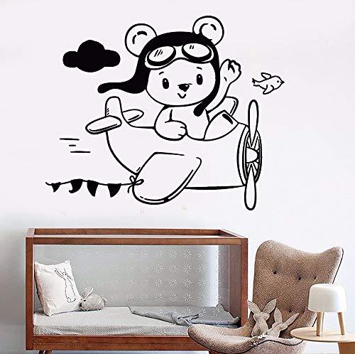 Yaonuli Vinyl muurtattoo's beer muursticker kleuterschool decoratie afneembare beer zitten vliegtuig behang kinderkamer muurschildering