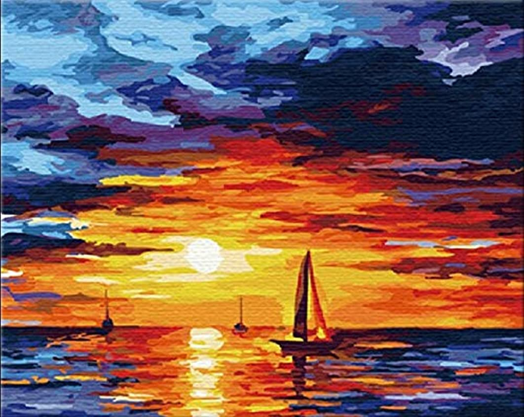 SuperDecor DIY Oil Painting Paint by Numbers kit for Adults Kids Beginner 16x20 Inch Sunset
