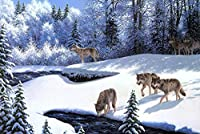 面白いおもちゃ、誕生日と休日の贈り物、雪の中のオオカミ、木製のパズル