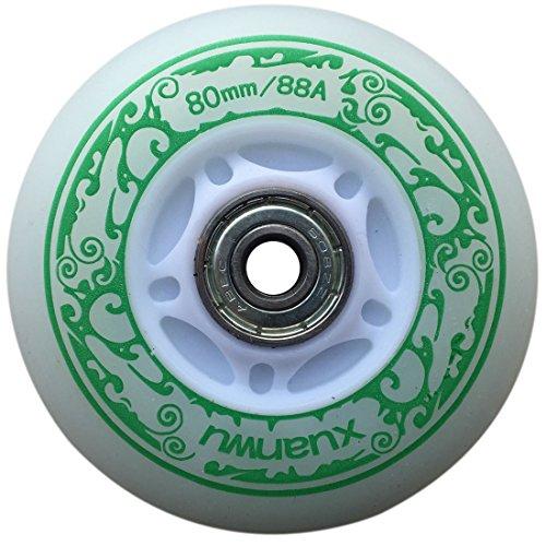you-beat-you-land Light Up LED Inline Skates PU Rollen Outdoor und Indoor Gummiräder 4 Stück grün 76 mm