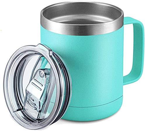 DELERKE Doppelwandiger Vakuumthermobecher | Isolierbecher | Kaffeebecher to go aus 18/8 Edelstahl mit Deckel und Griff Coffee to go Becher mit Henkel Kaffeetasse groß 400 ml