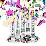 Relaxdays 5er Set Party Popper bunt mit Schmetterlingen, Blumen, Konfetti Kanone für Mottopartys,...