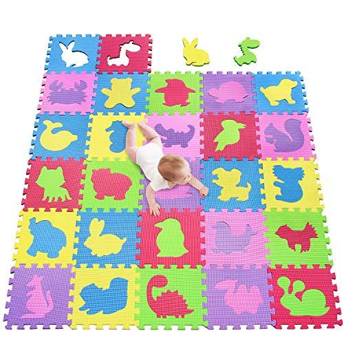 meiqicool Puzzlematte Kinderspielteppich Spielmatte Spielteppich Schaumstoffmatte Kinderteppich, Maß je Matte ca. 30 x 30cm 27 STÜCK 535556