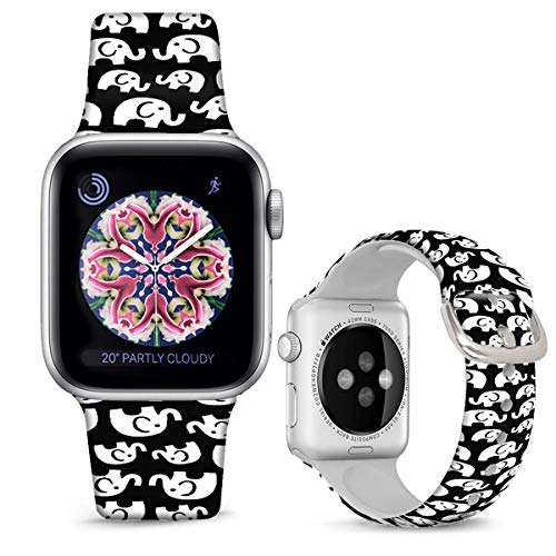 DOO UC Silicone Floral Bands Compatible with Apple Watch 38mm/40mm for Women Girls, Elephant Black Fadeless Pattern Printed Sport Strap Replacement for iWatch SE & Series 6 & Series 5 4 3 2 1 M/L