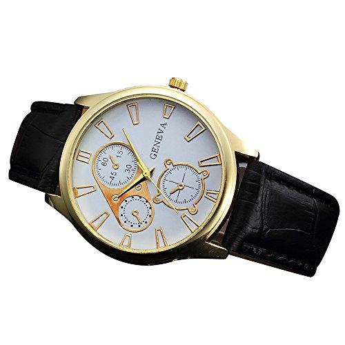 Hffan Uhren, Herrenuhren Braun Echtes Leder Chronograph Klassisch Mode Multi Zifferblatt Datumsanzeige Wasserdicht Analoge Quarz Männer Uhr mit Leder Armband