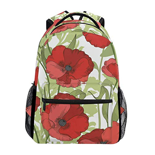 poiuytrew Mochila Red Poppy Poppy Mochilas de Hombro para Estudiantes Mochilas de Viaje Mochilas Escolares