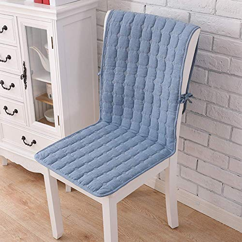WJX&Likerr With pocket One-piece Chair cushion, Cotton Four seasons Seat cushion Set Non-slip Chair With straps Dining Chair cushion-Blue A 50x140cm