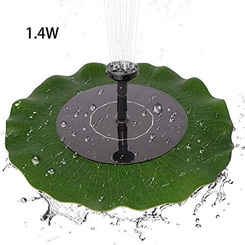 Fonteinpomp op zonne-energie, 1,4 W, werkt op zonne-energie, drijvend, zonder borstel, 4 sproeiers voor tuindecoratie, waterpomp voor vijver, tuin, vogels, badkamerdecoratie