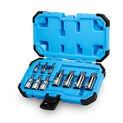 Juego de brocas para llave inglesa Capri Tools XZN, cuadrado triple, punta S2, 10 unidades