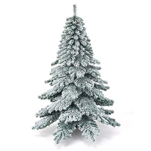 COSTWAY 6ft/7.5ft Snow Flocked Christmas Tree, Hinged Alaskan Pine Trees with Metal Stand, Luxury Artificial Xmas Full Tree for Indoor and Outdoor Decoration (Green + White, 6ft)