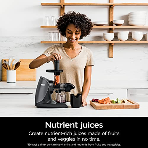 Ninja JC101 Cold Press Pro Compact Powerful Slow Juicer with Total Pulp Control and Easy Clean, Graphite, 13.78 in L x 6.89 in W x 14.17 in H