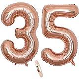 2 Globos Número 35 Años, Number 35 Globo Chica de oro rosa, 40Figuras de globos con globo de lámina de helio inflable, Globo gigante para la decoración de la fiesta de cumpleaños, Prom (xxxl 100cm)