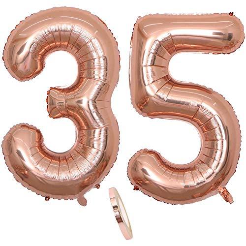 2 Globos Número 35 Años, Number 35 Globo Chica de oro rosa, 40