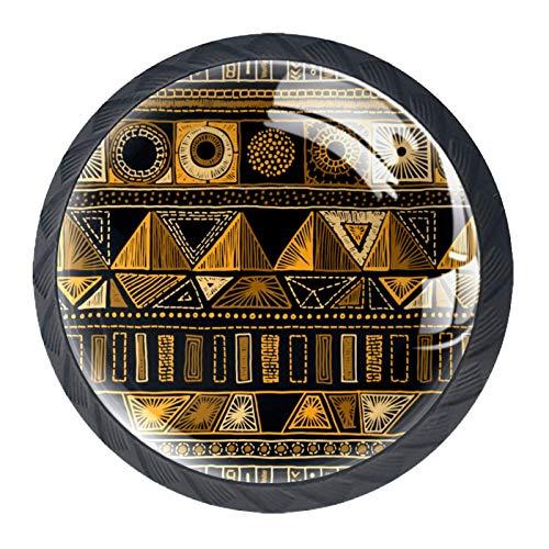Pomelli rotondi per porte – 4 pomelli in vetro per cassetti e porte, con viti, per casa, cucina, ufficio, cassetto, cassetto, stile vintage, retrò, etnico geometrico, dorato.