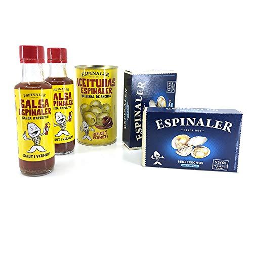Pack Espinaler - 2 Latas de Conservas Berberechos al Natural, Aceitunas rellenas de Anchoa y 2 Salsas Aperitivo Espinaler 🔥