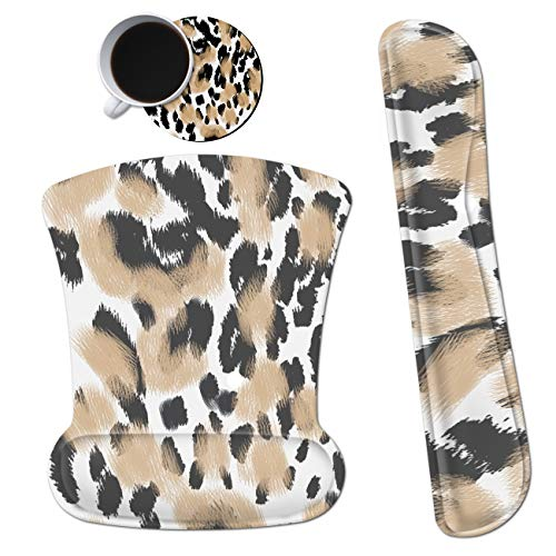 Dikoer Ergonomic Mouse Pad with Wrist Support Gel Mouse Pads and Upgrade Keyboard Wrist Rest Pad Set, Cute Coasters Non-Slip PU Base Mouse Mat for Office Gaming Home, Leopard Print