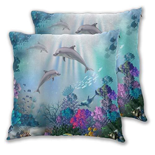 KASABULL 2 Pack Funda de Almohada Mundo Submarino Coral Peces Delfines Plantas Vida Marina Fondos Azules Lino Suave Cuadrado Sofá Cama Decoración Hogar para Cojín 45cm x 45cm