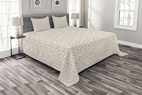 ABAKUHAUS Orientalna narzuta na łóżko, zestaw z poszwami na poduszki, kołdra letnia, do łóżek dwuosobowych 220 x 220 cm, biało-beżowa
