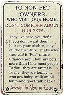 BESTWD Pet Owner Home Rules for Non Owners Funny Metal Sign by Oh!